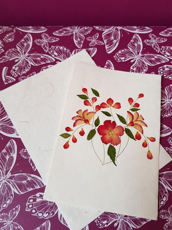 Handmade blank pressed flower card