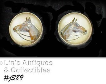 Vintage Amco Sterling Horse Head Under Lucite Earrings Screw Back Style (Inventory #J389)