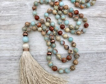 Aqua Terra Mala ~ African Opal, Amazonite & Antique Copper ~ 108 Bead, Hand Knotted, Tassel Necklace, Meditation Beads, Chakra Jewelry