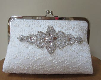 Rhinestone clutch bridal bag,diamante bag,crystal trim bag, ivory lace bag