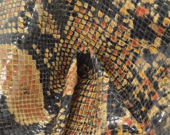 "Fashion Multi-Color Snake Leather Pig Hide 12"" x 12"" Pre-cut 1 1/2 oz TA-56937 (Sec. 5,Shelf 2,B)"