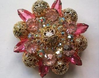 Pink Filigree Multi-layered Brooch - 5767