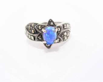 Vintage Faux Blue Opal Sterling Marcasite Ring Size 5