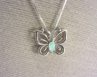 Vintage Sterling Marquise Opal Butterfly Pendant