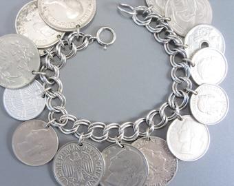Vintage World Coin Charm Bracelet 50s 60s