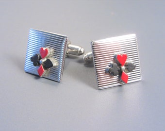 Vintage Enamel Playing Card Suit Cuff Links Silvertone