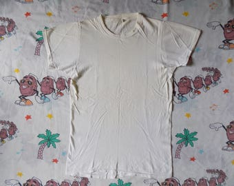 Vintage 70's Plain White T shirt, size Small by Fruit of the Loom soft and thin