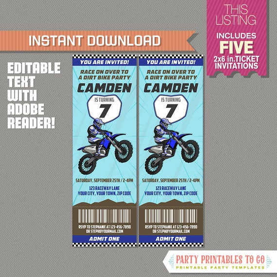 Dirt bike party ticket invitation blue motocross birthday party il570xn filmwisefo