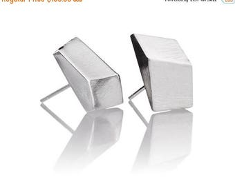 ON SALE Geometric Square 925 Pure Silver Small Minimalist Everyday Stud Earrings - Handmade Products
