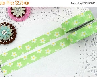 MSF Sale - Washi Tape - Daisy Little White Flower Floral Pattern with Lime Green - no.196 // 15mm x 10m