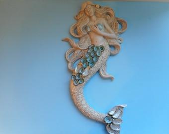 Seashell Wall Mermaid-Mermaid With Shells-Seashell Art-Beach Decor-Mermaid Wall Sculpture