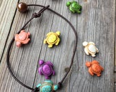 Turtle Anklet Turtle Leather Anklet Leather Pearl Anklet Leather Jewelry Beach Boho Bohemian Anklet Cute Anklet Made in USA Anklet Bracelet