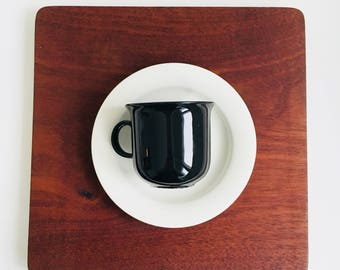 "Near Mint / A special Black & white addition Arabia Finland coffee cup with saucer named "" Arctica"" by Inkeri Leivo, 1980s"