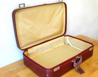 Leather Suitcase, Train Case, Bordeaux Leather Valise, Luggage, Suitcase Table, Travel Trunk, Bordeaux Luggage, Cardboard Suitcase, Suitcase