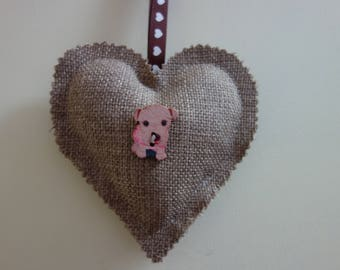 Lavender Padded Hanging Heart, neutral colour to suit every room setting.