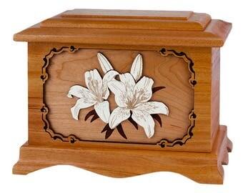 Mahogany Lilies Ambassador Wood Cremation Urn