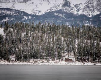 Landscape Photography, Tree Photography, Winter Photography, Wall Art, Fine Art, Pacific Northwest, Wallowa Lake, Snow Photography, Cabin