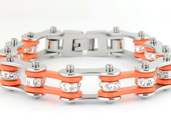 Women's Ladies Motorcycle Stainless Steel Crystal Orange Bike Chain Bracelet