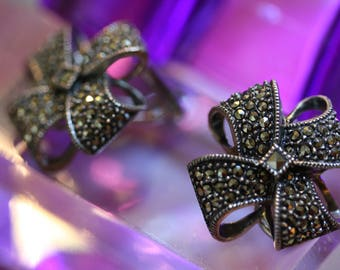 Exquisite Feminine Sterling and Marcasite Vintage Bow Earrings