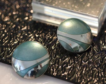 Classic Vintage Laurel Burch Modernist Aqua and Silver Post Earrings