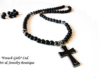 Mens Necklace Black Onyx Hematite Beaded Mala Crucifix Cross Pendant Gray Charm Healing Crystal Stone Meditation Gem Jewelry