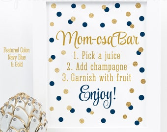 Momosa Bar Sign - Navy Blue Gold Glitter Mom-osa Mimosa Bar Baby Shower Ideas - Baby Boy Sip N See Party Sign - Printable 8x10 Drink Sign