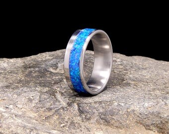 Pacific Blue Lab Opal Inlay Titanium Wedding Band or Ring
