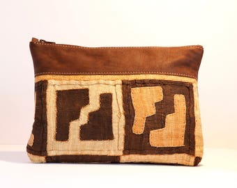 Large Brown Leather Clutch with Kuba Cloth - Boho Leather Clutch - African Purse - Safari Theme Wedding - Boho Bridesmaid Clutch