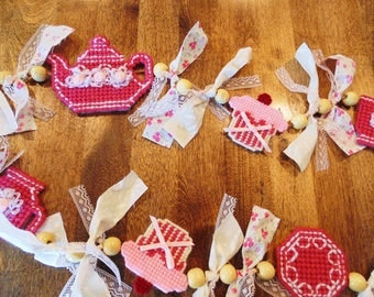 Tea Party Garland, Pink Tea and Cakes Decor, Bedroom Decor, Tea Party Decor, Tea Time Party Garland, Tea Party, Girl's Room Decor