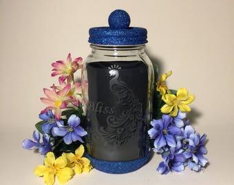 Peacock. Mason Jars. Decorative Etched Glass Glitter Jar Flower Vase. Tea Light Candle Holder. Kitchen Utensil Storage Container