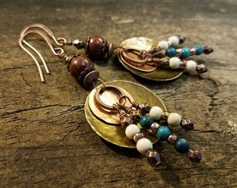 Mixed Metal Earrings, Boho Earrings, Metal Earrings, Copper Earrings