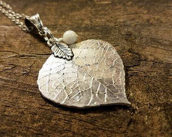 Silver Necklace, Leaf Necklace, Boho Necklace, Pendant Necklace