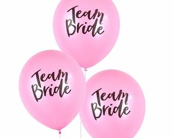 Team Bride Balloon Set - Wedding Day Balloons, Bride Balloon, Pink and Black Bachelorette Party Balloons, Bridal Balloons, Team Bride Decor