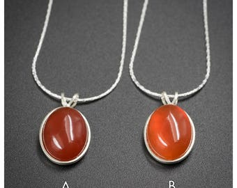 Carnelian and sterling silver pendant necklace , Carnelian and sterling silver handmade semiprecious stone necklace, carnelian jewelry