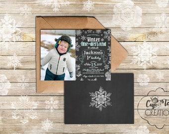 Winter Onederland Invitation, Onederland Invitation, Winter Birthday Invitation, Snowflake Invitation