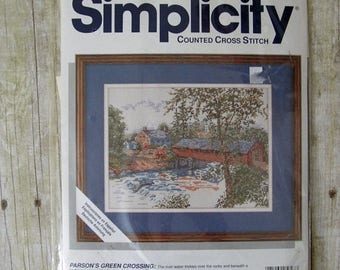 SALE 802) Simplicity Counted Cross Stitch Covered Bridge Scenery 12 x 9 Finished Size 05627 Parsons Green Crossing