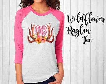 Monogram Shirt, Wildflower Monogram Raglan Tee, Antler Raglan, Monogram T-Shirt