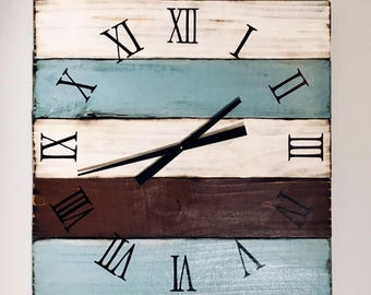 "X-Large Wood Clock, 28x28"" Rustic, Distressed Modern Reclaimed Wood Clock"