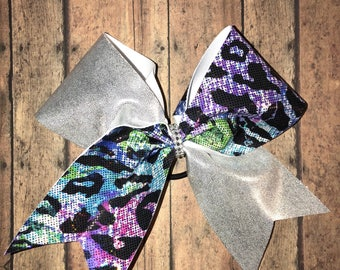 Leopard print cheer bow. Fun bow for everyday  wear.