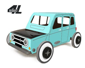 Autogami - Renault 4L - Blue - Miniature car made from cardboard that runs on solar energy!