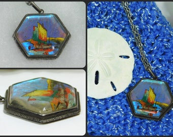 Rare Antique Thomas Mott Made in England Two Sailboats at Sea ~Patent Sterling Silver and Glass Necklace ~Made in England
