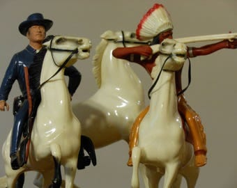 """Hartland Plastics Brave Eagle and Paladin from """"Have Gun Will Travel"""" and Extra Horse"""