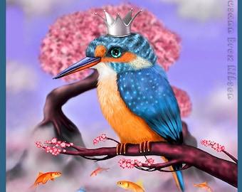 "Print of ""Kingfisher"", digital painting by Susann Brox Nilsen. Bird art, illustration, cherry blossom, lowbrow, pop art, surrealism"