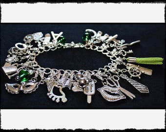 Green Charm Bracelet with Flogger / Whip Charm // Fifty Shades of Grey Inspired // BDSM Gift // Cincuenta Sombras