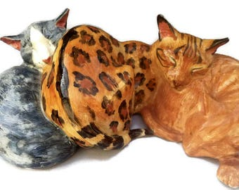 Cat figure, Benegal cat and marmalade cat figurine with silver tabby, cat sculpture, by Clare McFarlane