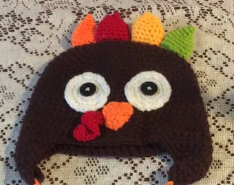 Thanksgiving turkey toddler handmade crochet hat