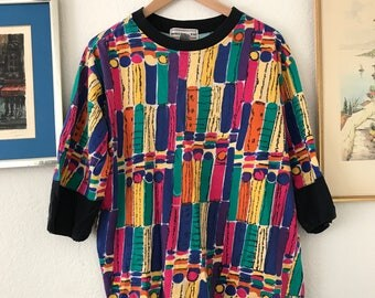 Colorful top loose fit size medium 80's shirt