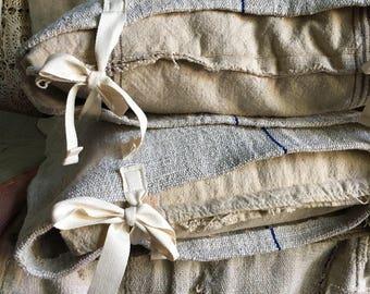 PAIR Vintage European grain sack pillow covers/ euro shams/ 1800's European textile/ patchy/ worn/ primitive tie closure 20x20