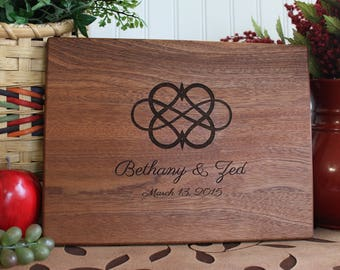 Personalized Cutting Board Infinity Heart Wedding Present Anniversary Gift Bridal Shower Gift Engagement Kitchen Art Home Decor
