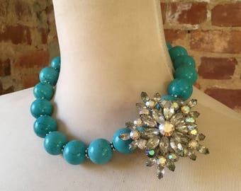Turquoise Howlite Statement Necklace with Aurora Bourealis Brooch